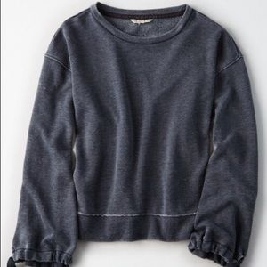 American Eagle Distressed Gray Tie Sleeve Sweater